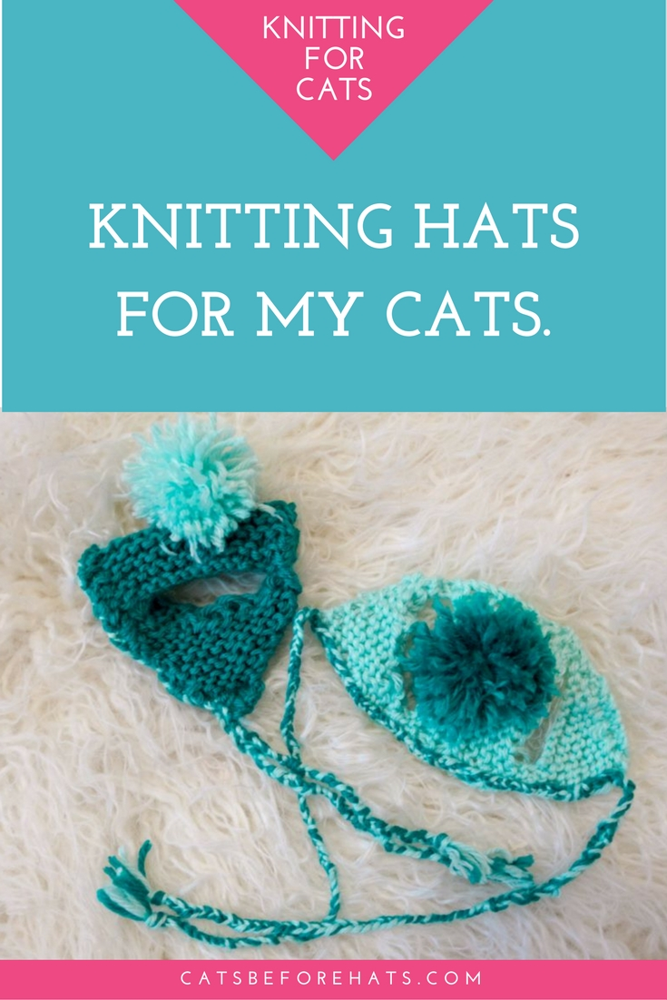 Knitting hats for my cats using the book Cats in Hats: 30 Knit and Crochet Hat Patterns for Your Kitty by Sara Thomas