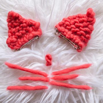 Easy Cat Ear Barrettes Knitting Pattern