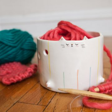 Cat yarn bowls for knitters who love cats.